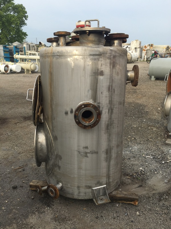 Used Apex Piping Systems approximately 240 gallon vertical SS storage tank
