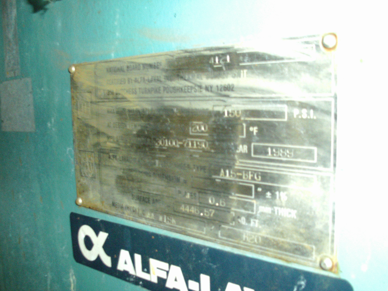 Used Alfa Laval SS plate heat exchanger Type A15-BFG 4446.57 sq. ft.