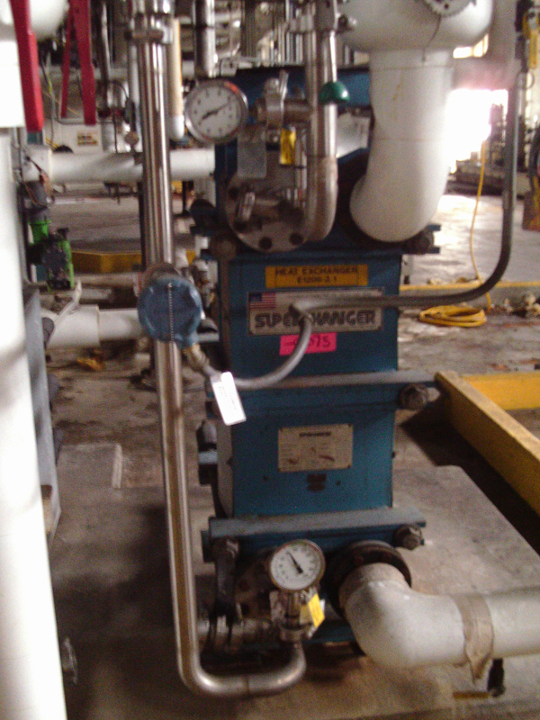 Used Superchanger 236.6 square feet stainless steel plate heat exchanger