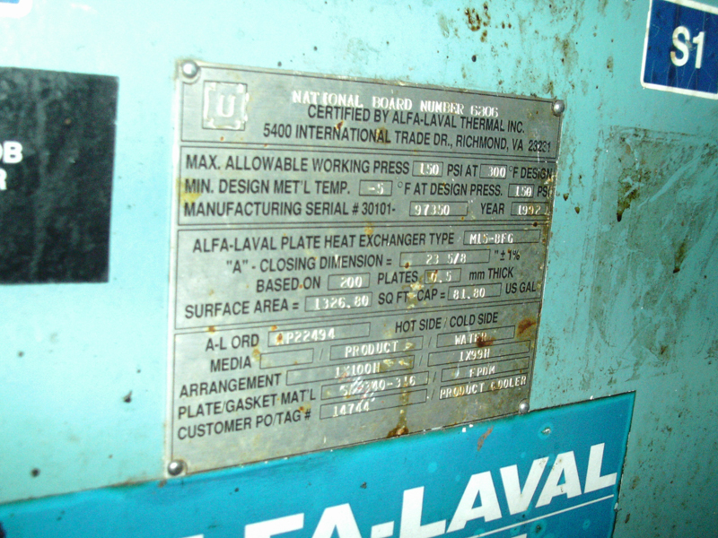Used Alfa Laval 1326.8 square feet 316 stainless steel plate heat exchanger