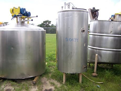 Used approximately 250 gallon vertical S/S cold-walled jacketed tank