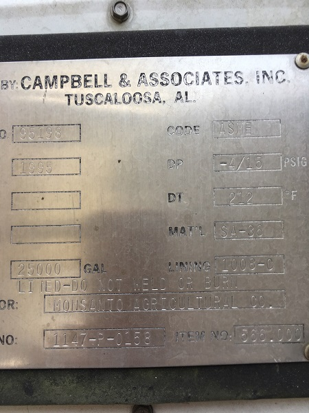 Used Campbell and Associates Inc. 25,000 gallon CS/Rubberlined tanks