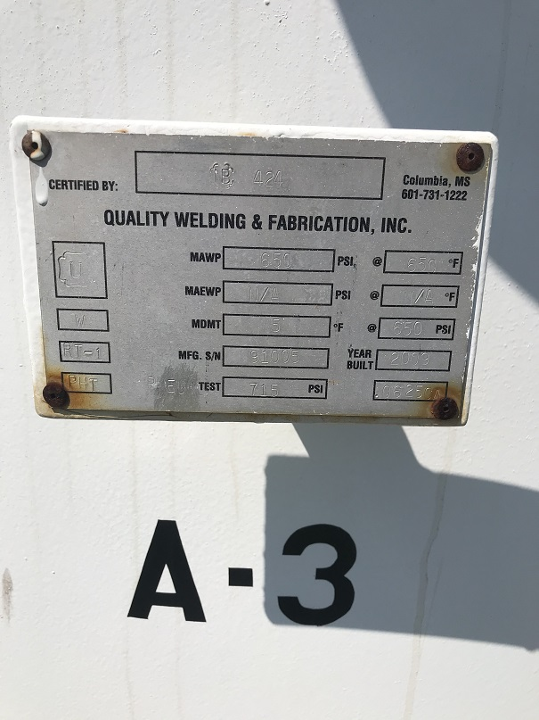Used Quality Welding & Fabrication, Inc. approximately 537 cu. Ft. CS Colum