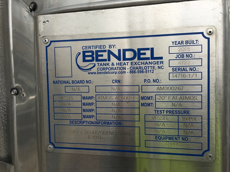 Unused Bendel approximately 1,200 gallon vertical 304 S/S quench tank