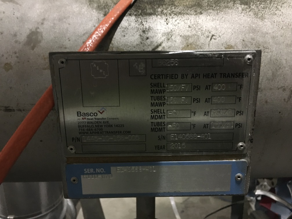 Used Basco API Heat Transfer approx. 250 sq. ft. 316 SS heat exchanger(SOLD