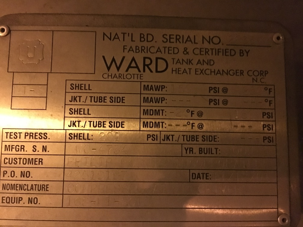 Used Ward SS approximately 4000 gallon Horizontal Tank(SOLD)