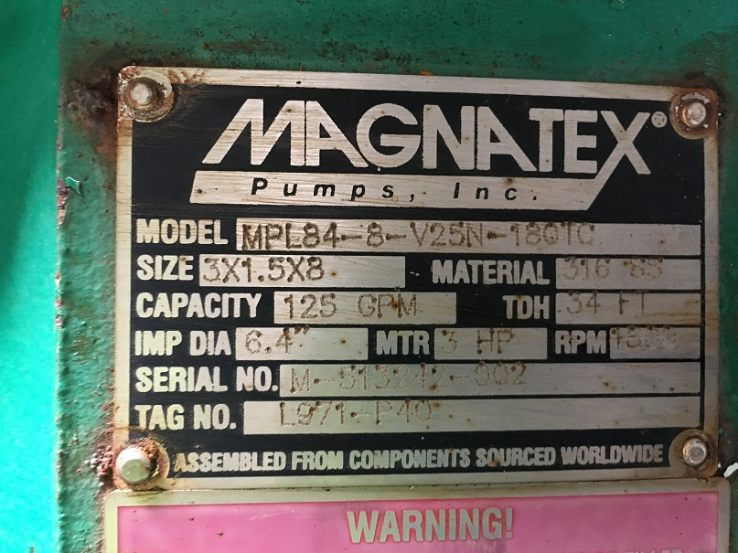 Used Magnatex Model MPL84-8-V25N-180TC 316 stainless steel centrifugal pump