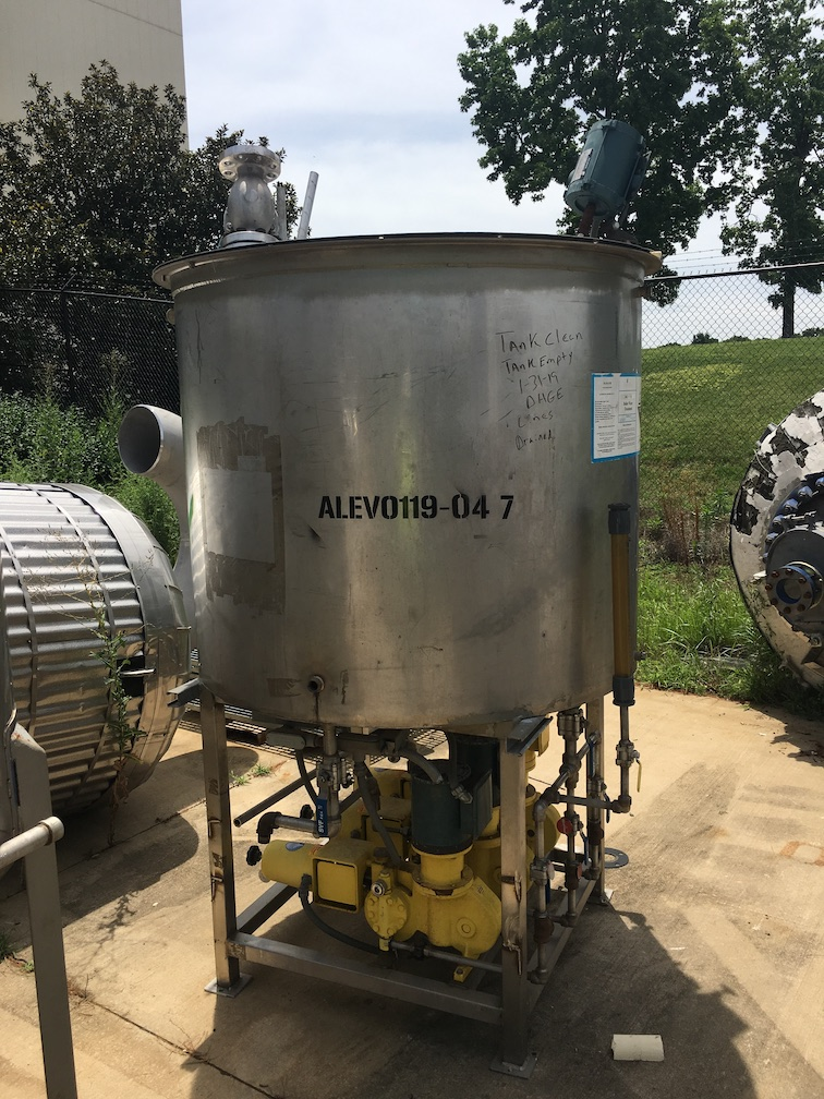 Used approximately 380 gallon stainless steel vertical tank