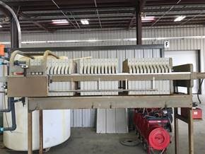 Used WWE filter press, Model 630 FA1GE-35-PSHPS, 10 cu. Ft. Poly plate & f