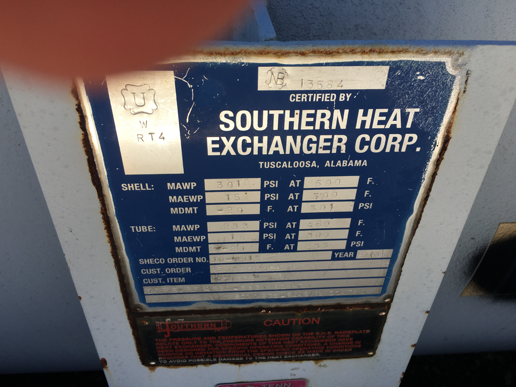 Unused Southern Heat Exchanger Inc. approx. 5,331 sq. ft. Shell and Tube