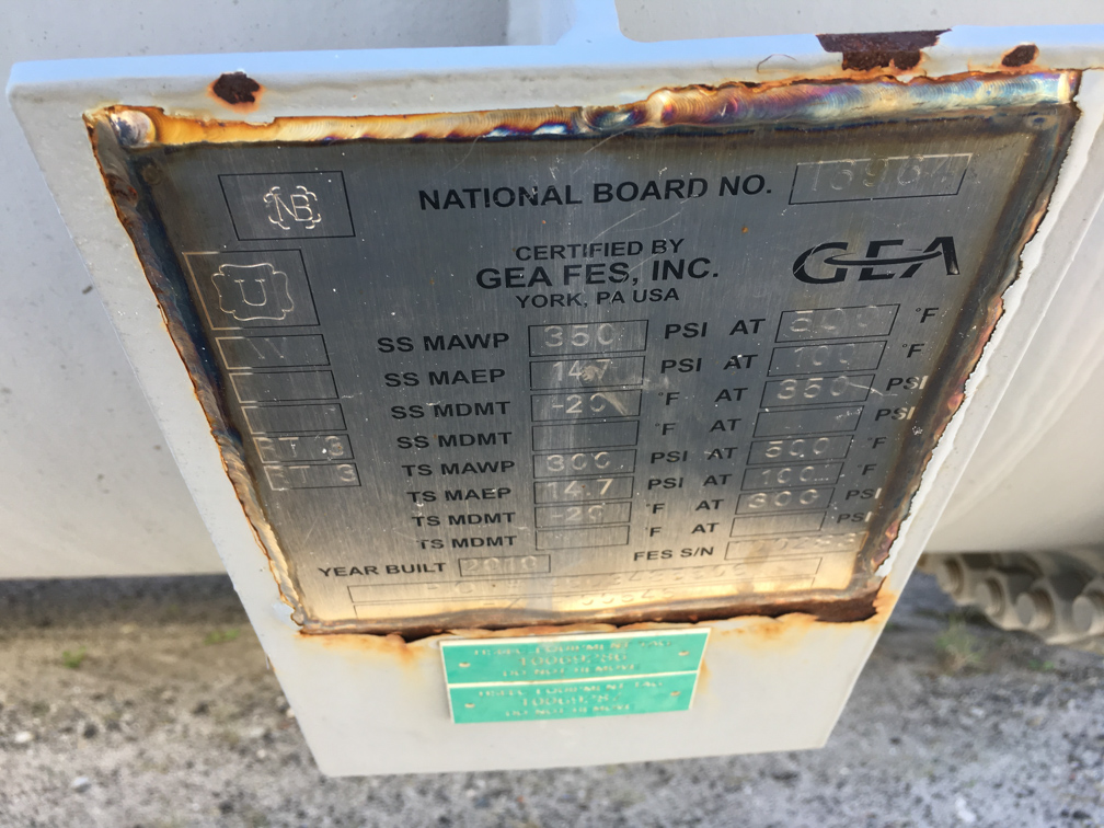 Unused GEA FES Inc. approx. 4,000 square foot horizontal Shell and Tube