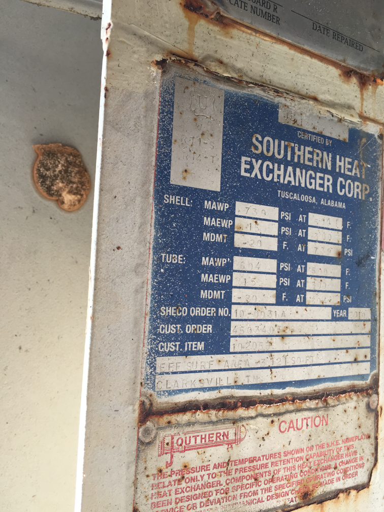 Unused Southern Heat Exchanger Corp. approx. 3,121 sq. ft. Shell and Tube