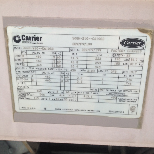 Used Carrier 210 ton air-cooled chiller model #30GN-210-C610SD