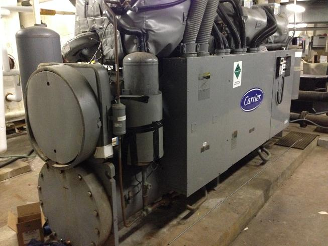Used Carrier 265 Ton screw type chiller equipped with (3) compressors