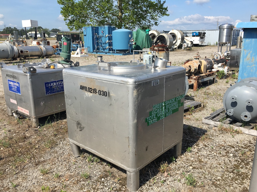 Used approximately 310 gallon stainless steel liquid tote