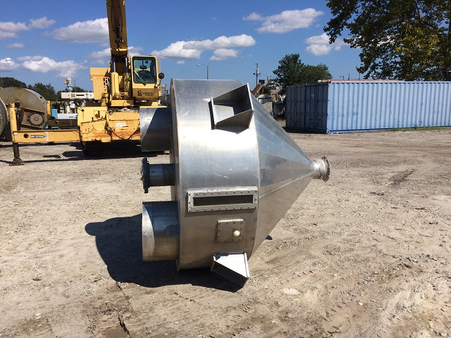 Used approximately 450 gallon aluminum 30 degree con bottom hopper