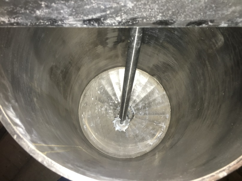 Used approximately 18 gallon vertical stainless steel mix tank