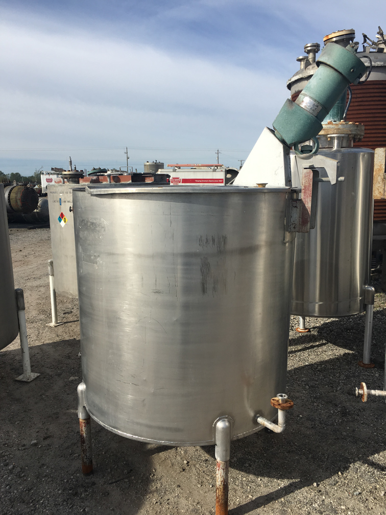 Used Perry 350 gallon vertical stainless steel mix tank