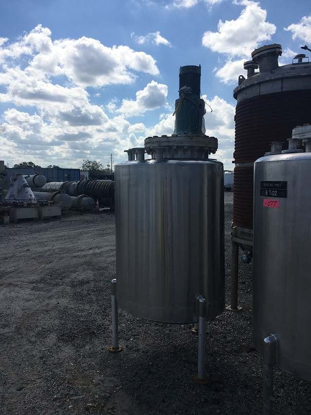 Used San-I-Tanks approximately 330 gallon vertical stainless steel mix tank