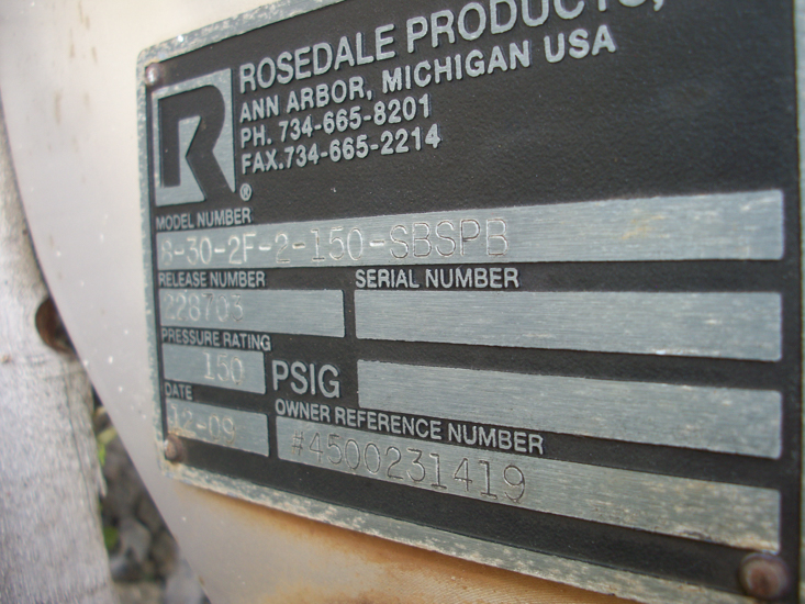 Used Rosedale Products model 8-30-2F-2150-SBSPB filter S/S(SOLD)