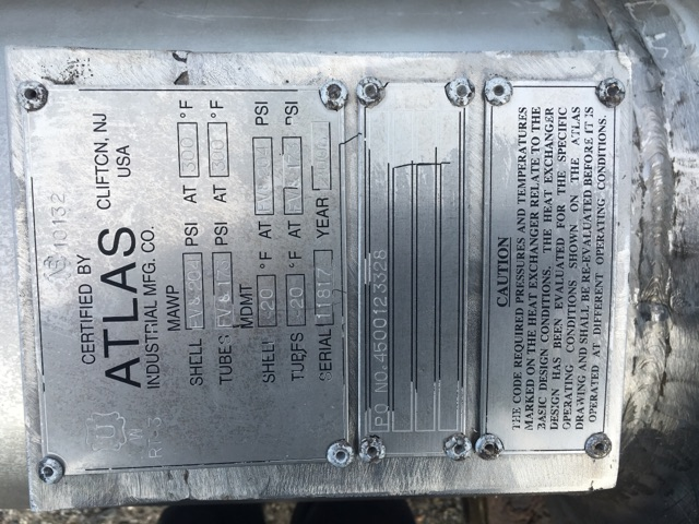Used Atlas Industrial MFG. approx. 375 sq. ft. (4-Pass) Type 316L HE
