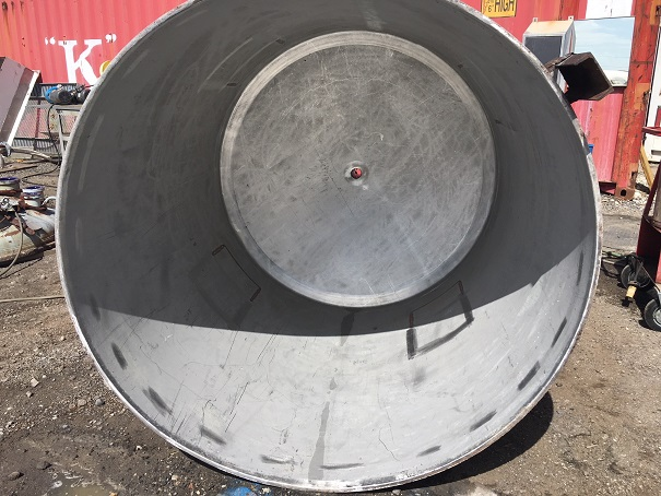 Used Perry Products approximately 700 gallon stainless steel vertical tank