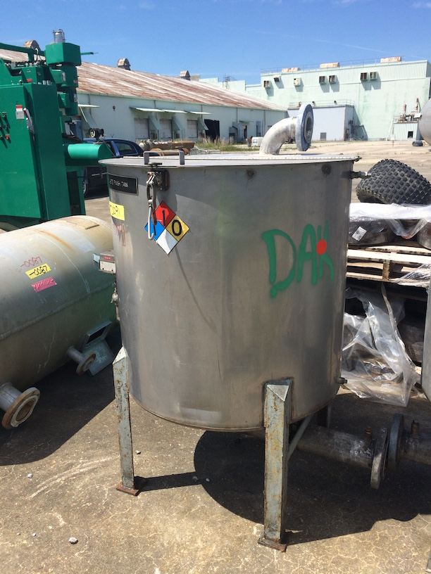 Used Perma-San approximately 150 gallon stainless steel vertical tank