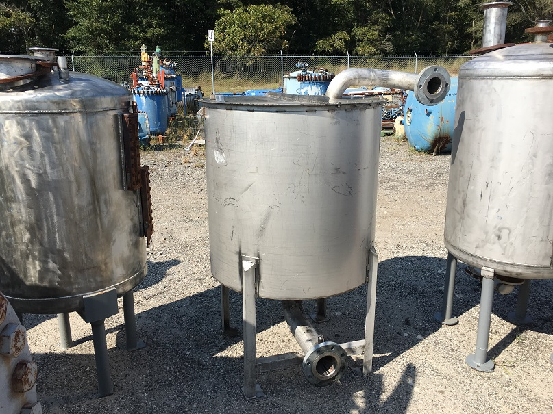 Used approximately 150 gallon stainless steel vertical tank