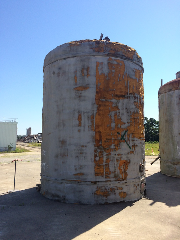 Used approximately 12,000 gallon stainless steel vertical tank