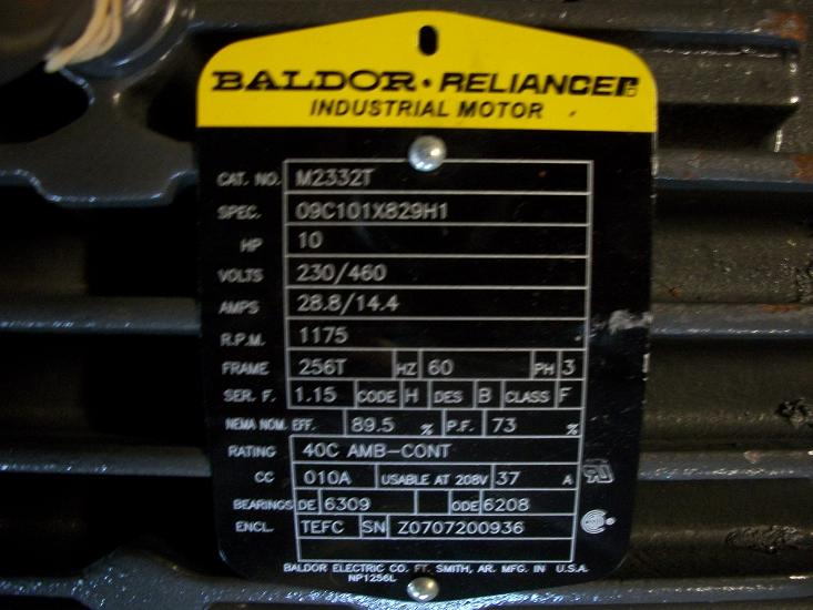 unused baldor reliance inverter duty motor 10 hp sold