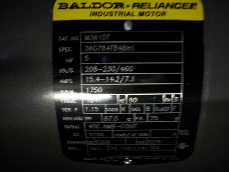 unused baldor reliance 5hp motor sold dhg used equipment
