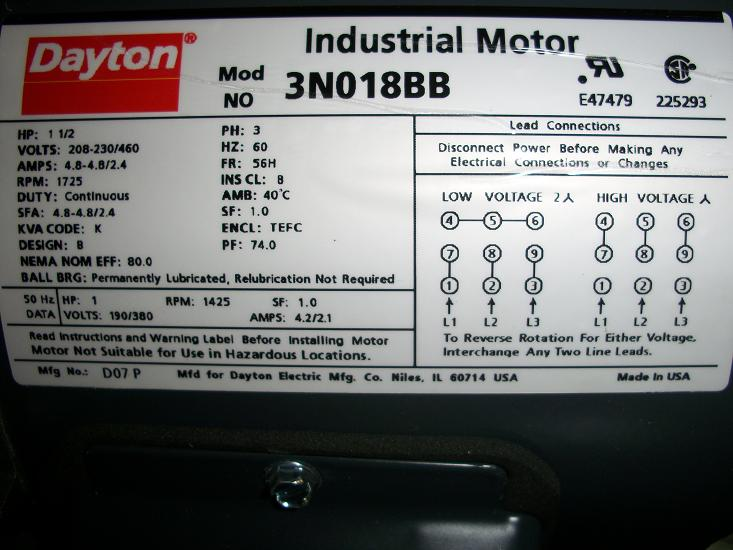 Unused Dayton Inverter Duty Motor 1 1/2HP