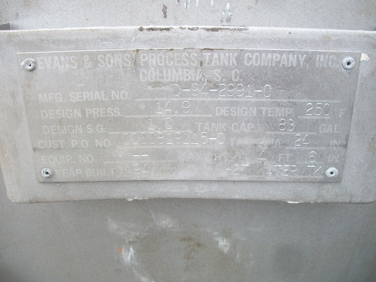 Used Evans and Sons 83 gallon S/S horizontal tank