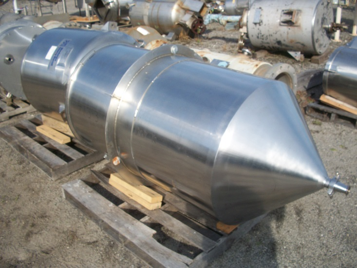 Used approximately 180 gallon vertical 304 stainless steel tank