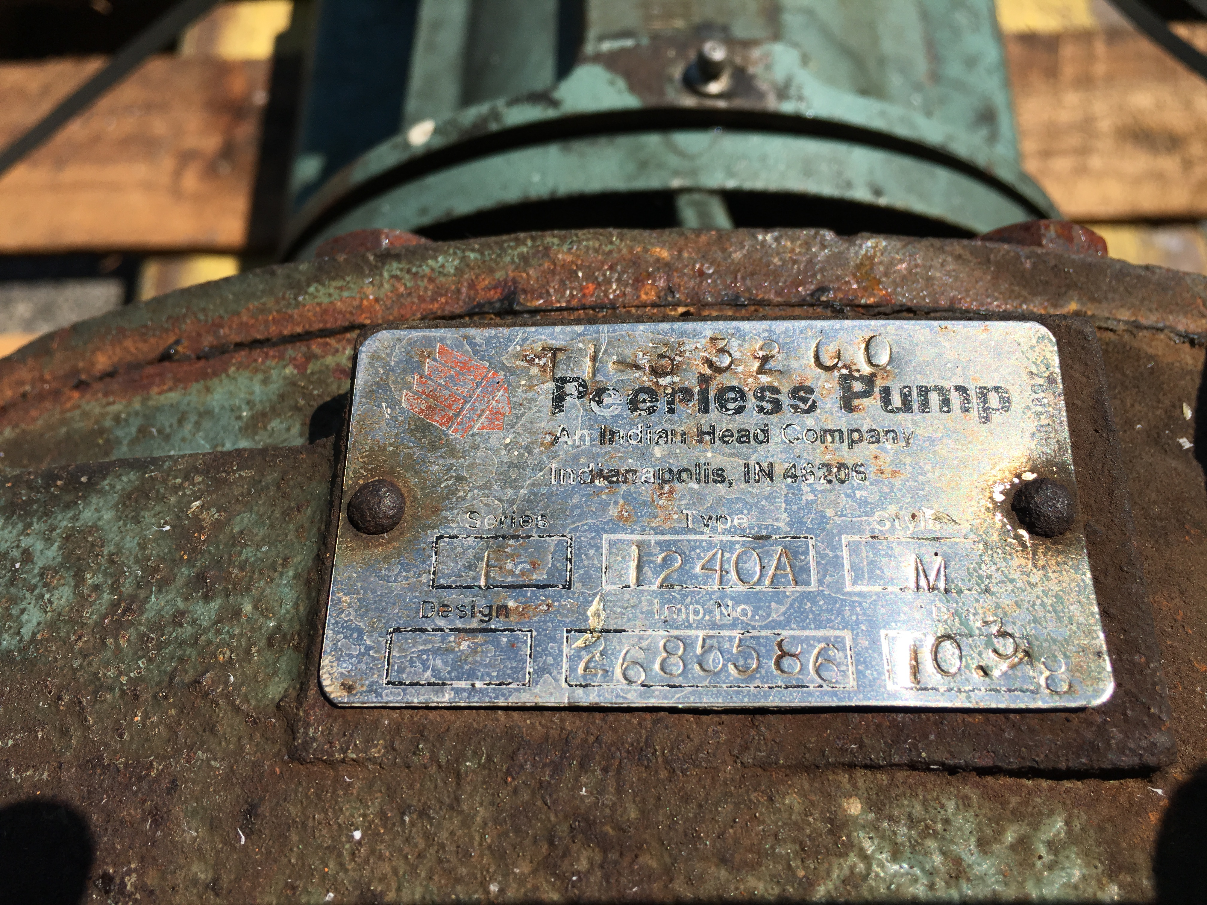 Used Peerless Series F, Type 1240A, Style M centrifugal pump(SOLD)