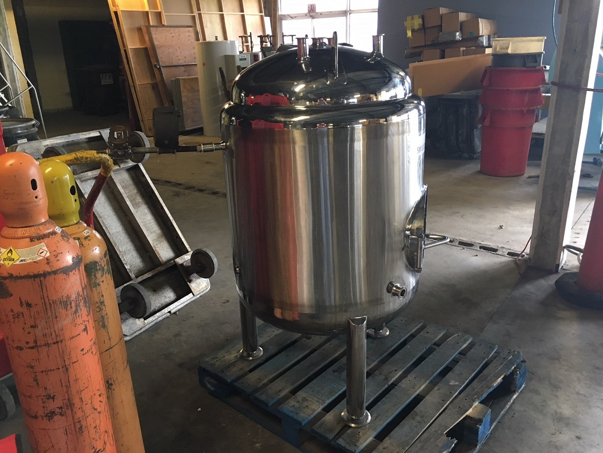 Used approximately 90 gallon 304 S/S vertical jacketed brite tank(SOLD)