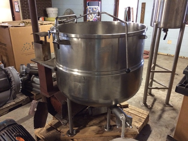 Used Cleveland 100 gallon stainless steel gas fired steam kettle