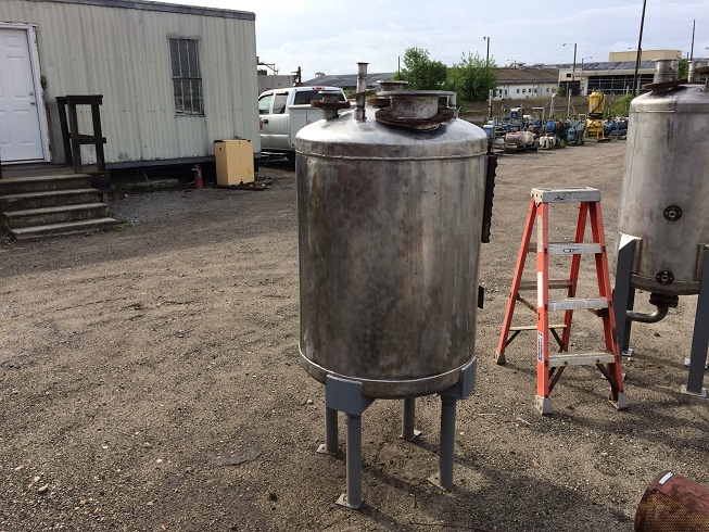 Used Perry Products 100 gallon stainless steel vertical pressure tank