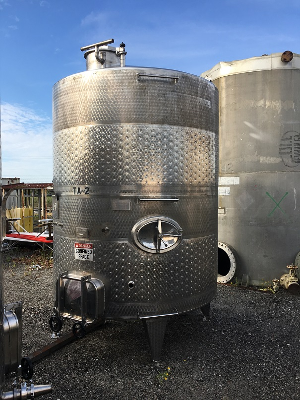 Used Vinquip approximately 2325 gallon jacketed 304 SS vertical tank(SOLD)