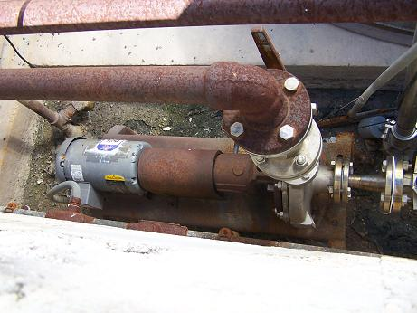 "Used Durco stainless steel 1-1/2"" X 1"" centrifugal pump with 1.5HP motor."
