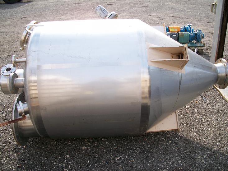 Used approximately 54 cu. Ft. 304 stainless steel cone bottom tank/hopper.