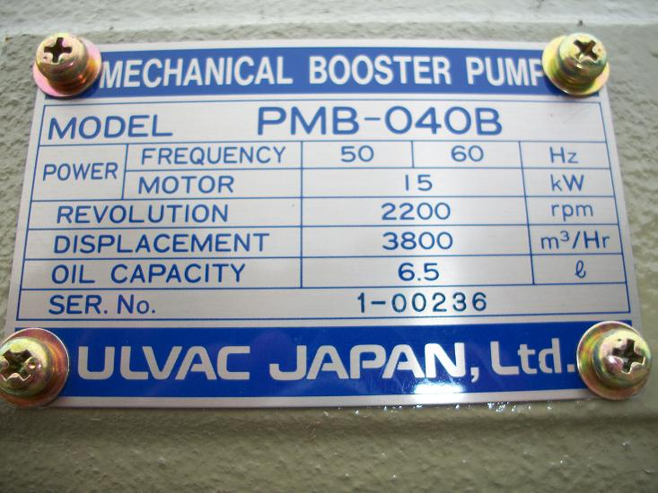 Used ULVAC PMB-040B Mechanical Booster pump