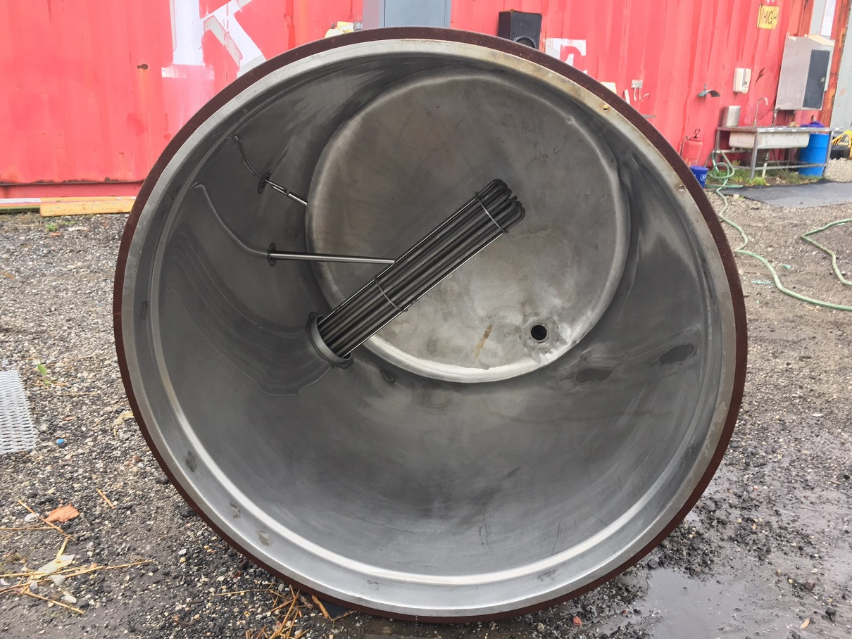 Used Sani Tank approximately 200 gallon vertical stainless steel tank
