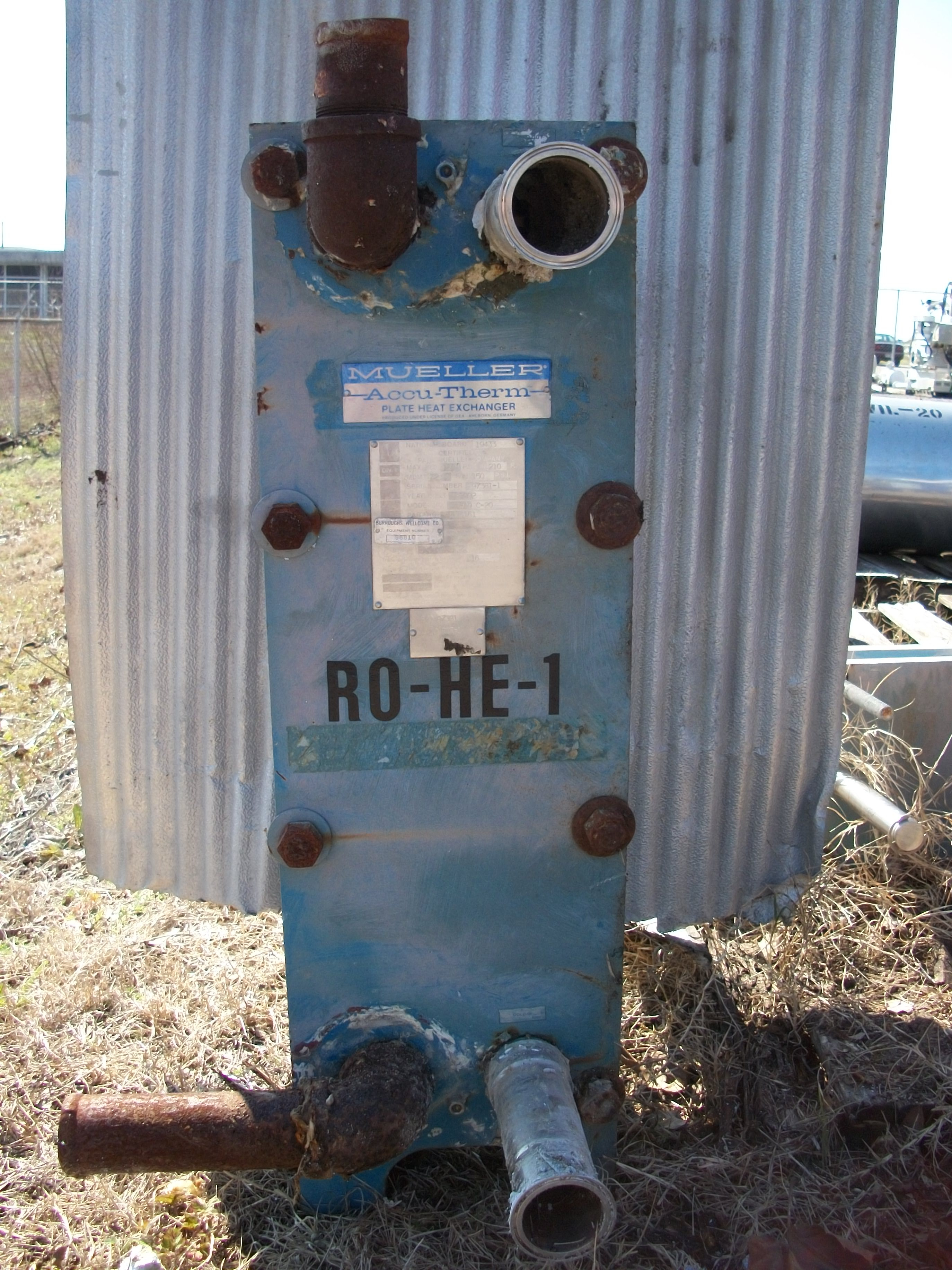Used Mueller Accu-Therm approximately 18 sq ft. plate heat exchanger