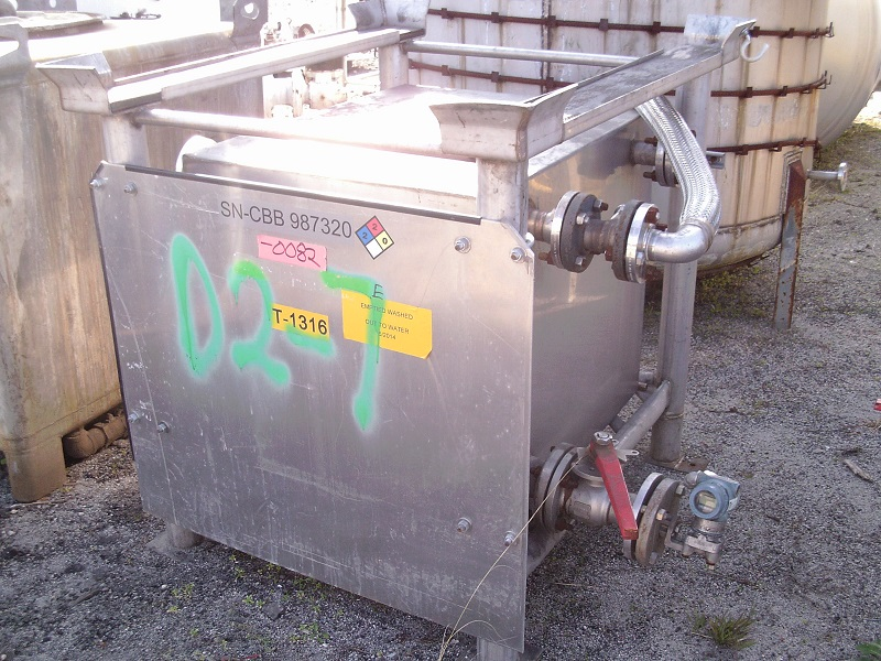 Used TranStore approximately 150 gallon SS portable liquid tote