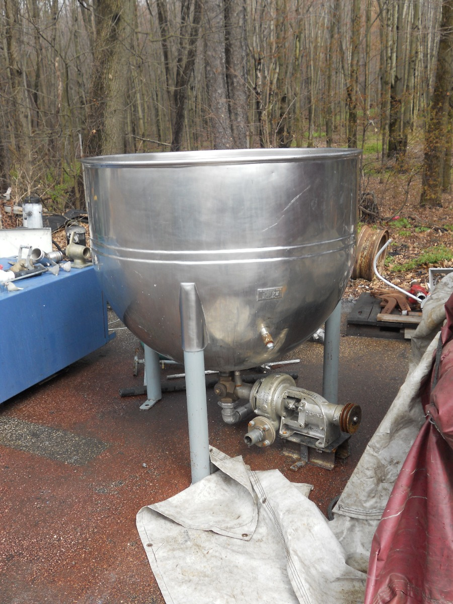 Used 300 gallon Lee Single Motion Hemispherical Bottom Kettle