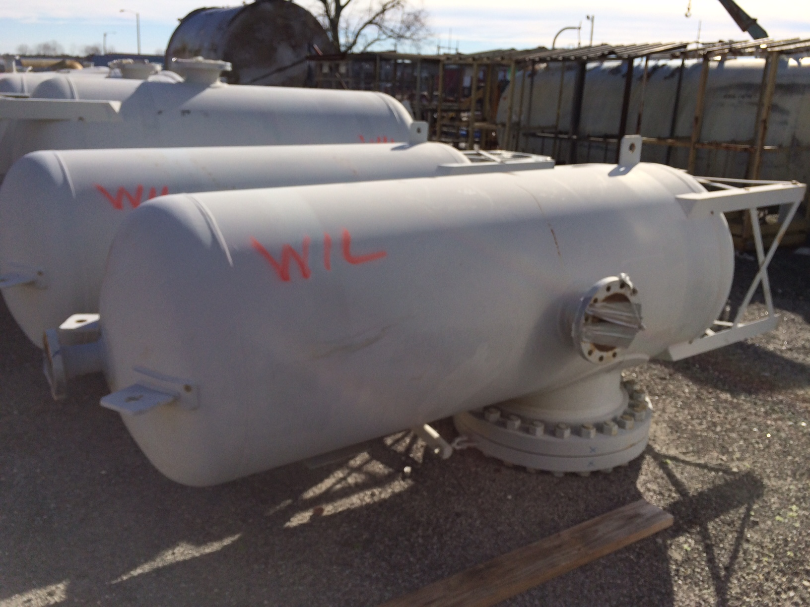Unused Merrill Fabricators Inc. approximately 300 gallon vertical C/S Tank