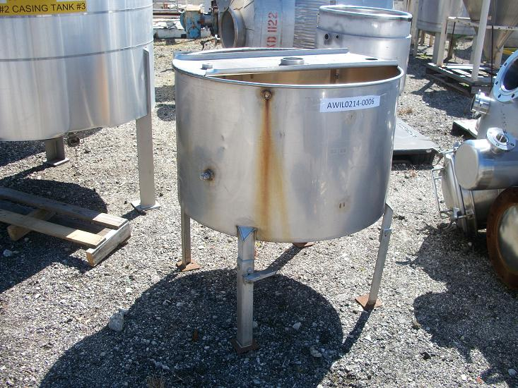 Used approximately 120 gallon vertical 304 stainless steel tank