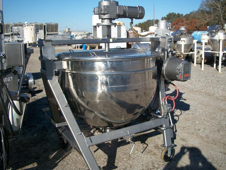 Used Dover single motion 200 gallon 316 stainless steel jacketed kettle.