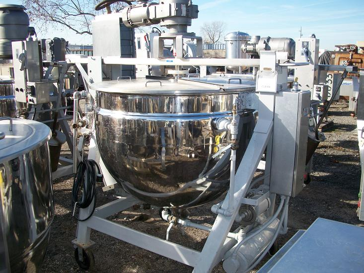 Used Lee Metal Products single motion 200 gallon 316 S/S jacketed kettle